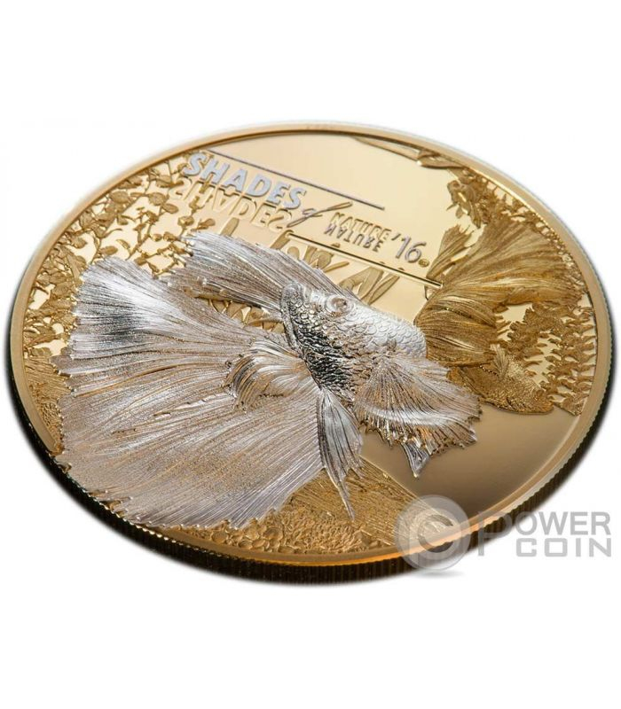 fighting fish shades of nature silver coin 5 cook islands 2016 power coin. Black Bedroom Furniture Sets. Home Design Ideas