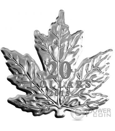 CUT OUT MAPLE LEAF Foglia Acero Moneta Argento 20$ Canada 2015