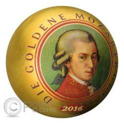 DIE GOLDENE MOZARTKUGEL Mozart Ball 1 Oz Silber Münze 5$ Samoa 2016