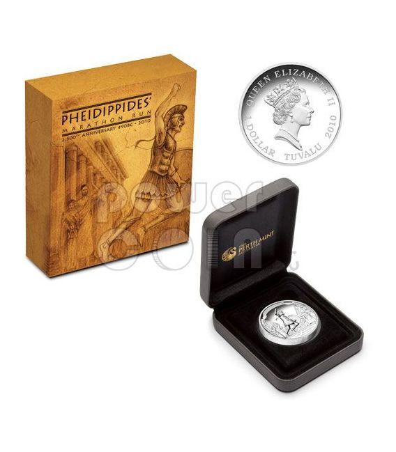 PHEIDIPPIDIS MARATHON Run High Relief Silber Münze 1$ Tuvalu 2010
