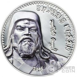 GENGHIS KHAN Chingis Chinghis Chinggis Khaan Silver Coin 1000 Togrog Mongolia 2016