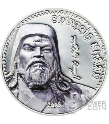 GENGIS KHAN Moneta Argento 1000 Togrog Mongolia 2016