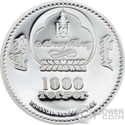 GENGHIS KHAN Chingis Chinghis Chinggis Khaan Moneda Plata 1000 Togrog Mongolia 2016