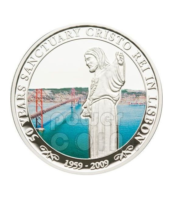 CRISTO REI Lisbon 50th Anniversary Silver Coin 5$ Cook Islands 2009