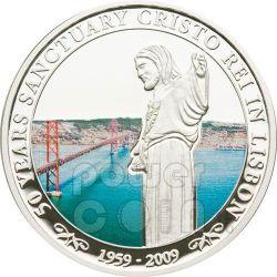 CRISTO REI Lisbon 50th Anniversary Moneda Plata 5$ Cook Islands 2009
