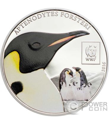 EMPEROR PENGUIN Pinguino Imperatore WWF World Wildlife Fund Moneta 100 Shillings Tanzania 2016