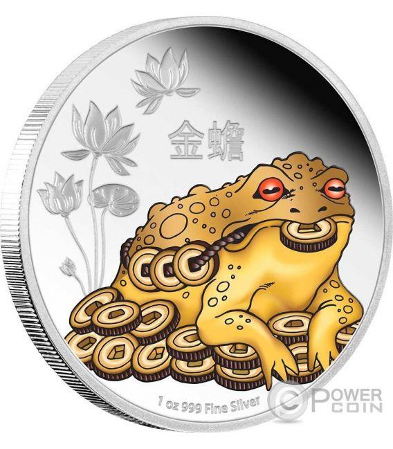 MONEY TOAD Rana dei Soldi Feng Shui 1 Oz Moneta Argento 2$ Niue 2016