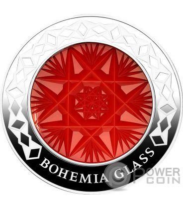 BOHEMIA Art of Glass Artigianale Cristallo Boemia Moneta Argento 1000 Franchi Congo 2016