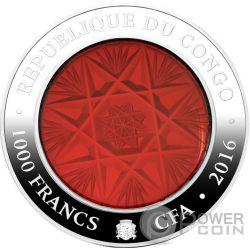 BOHEMIA GLASS Handcrafted Серебро Монета 1000 Франков Конго 2016