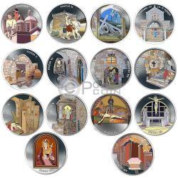 THE WAY OF SUFFERING Via Dolorosa Crucis Jerusalem Jesus 14 Монета Set 1 Oz Серебро Израиль  2016