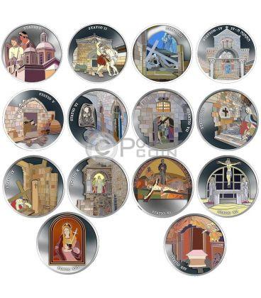 VIA DOLOROSA Crucis Gesu Gerusalemme Set 14 Monete 1 Oz Argento Israele 2016