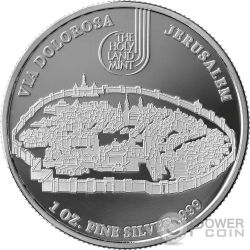 THE WAY OF SUFFERING Via Dolorosa Crucis Jerusalem Jesus 14 Coin Set 1 Oz Silver Israel 2016