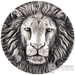 LION BIG FIVE Leone Mauquoy Haut Relief 5 Oz Moneta Argento 5000 Franchi Costa Avorio 2016
