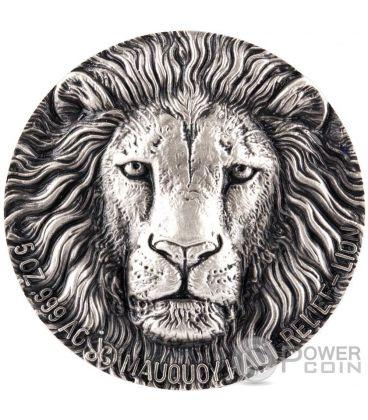 LION BIG FIVE Mauquoy Haut Relief 5 Oz Silver Coin 5000 Francs Ivory Coast 2016