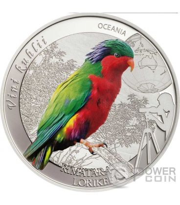 RIMATARA LORIKEET Lorichetto Kuhl Pappagallo Birding Moneta Argento 2$ Cook Islands 2016