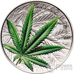 MARIHUANA Cannabis Sativa Leaf Famous Plants Silver Coin 1000 Francs Benin 2016