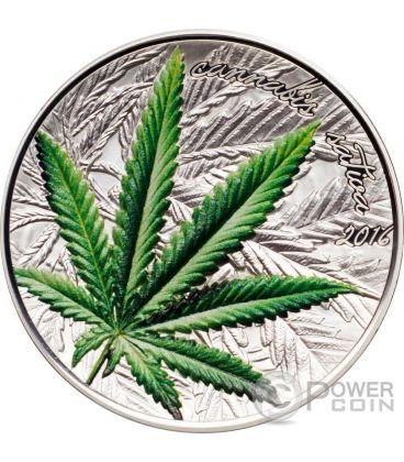 MARIHUANA Cannabis Sativa Leaf Famous Plants Silver Coin 1000 Francs Benin 2016