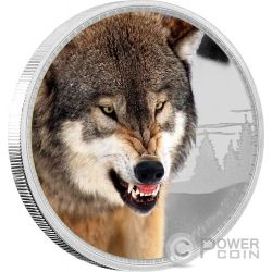GREY WOLF Kings of the Continents 1 Oz Silver Coin 2$ Niue 2016
