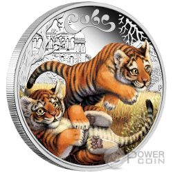 TIGER CUBS Tigre Cucciolo Moneta Argento 50 Centesimi Tuvalu 2016