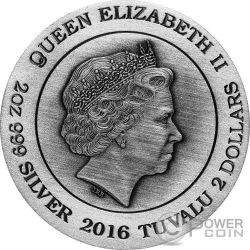 ODIN Norse Gods The King Of Asgard 2 Oz Moneda Plata 2$ Tuvalu 2016