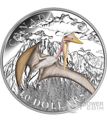 TERROR OF THE SKY Day of the Dinosaurs Silver Coin 10$ Canada 2016