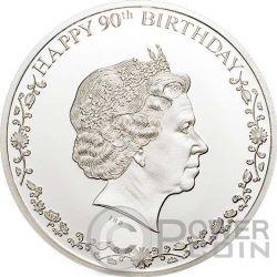 QUEEN ELIZABETH II Regina Elisabetta 90 Compleanno Moneta Argento 1$ Cook Islands 2016