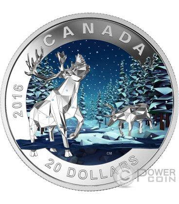 CARIBOU Geometry In Art Dimensional Design Silver Coin 20$ Canada 2016
