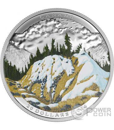 MOUNTAIN GOAT Landscape Illusion Silver Coin 20$ Canada 2016