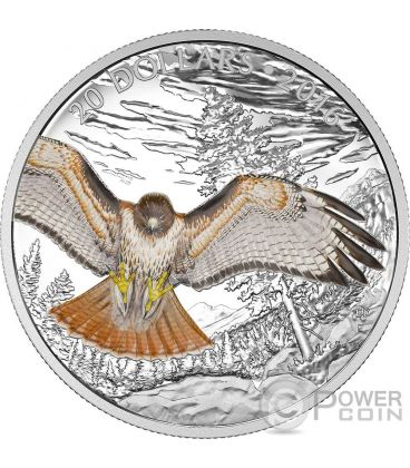 REGAL RED TAILED HAWK Majestic Animal Silver Coin 20$ Canada 2016