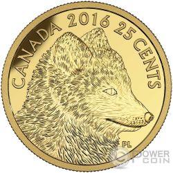 TRADITIONAL ARCTIC FOX Predator vs Prey Gold Coin 25 Cents Canada 2016