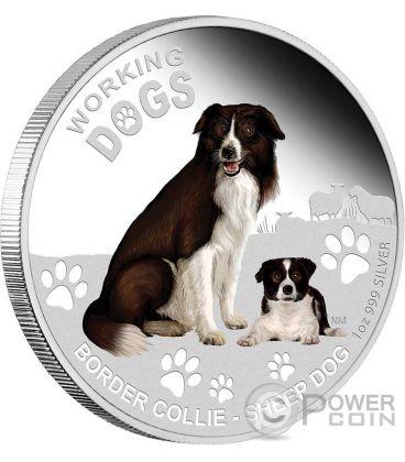 BORDER COLLIE Cane Working Dogs Moneta Argento 1$ Tuvalu 2011