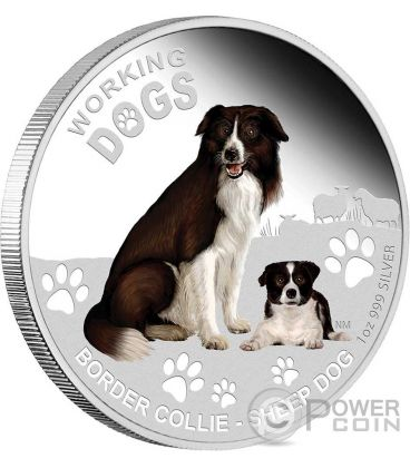 BORDER COLLIE Working Dogs Silver Coin 1$ Tuvalu 2011