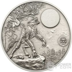 LUPO MANNARO Creature Mitologiche Mythical Creatures Collection Werewolf Moneta Argento 2 Oz 10$ Palau 2013