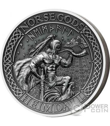 HEIMDALL Norse Gods Alti Rilievi Moneta Argento 2 Oz 10$ Cook Islands 2016