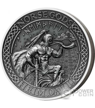 HEIMDALL Norse Gods High Relief 2 Oz Silver Coin 10$ Cook Islands 2016
