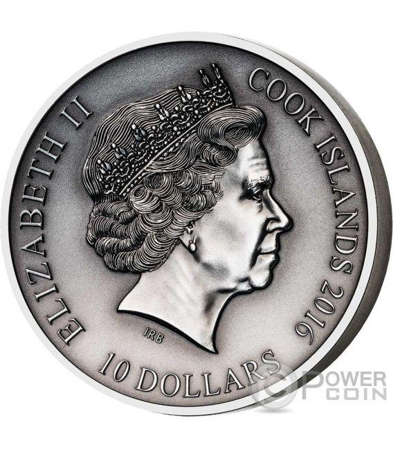 HEIMDALL Norse Gods High Relief 2 Oz Moneda Plata 10$ Cook Islands 2016