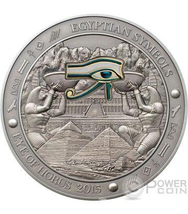 EYE OF HORUS Egyptian Symbols Occhio Moneta Argento 3 Oz 20$ Palau 2015
