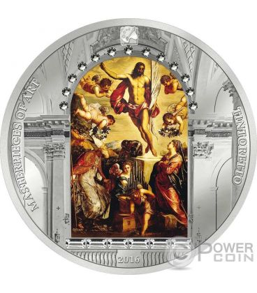 RESURRECTION OF JESUS Tintoretto Resurrezione Easter Pasqua 3 Oz Moneta Argento 20$ Cook Islands 2016