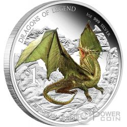 EUROPEAN GREEN DRAGON Dragons Of Legend 1 Oz Silver Coin 1$ Tuvalu 2013