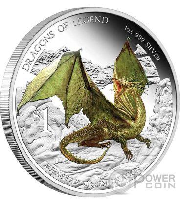 DRAGONE VERDE EUROPEO Dragoni Leggendari Moneta Argento 1 Oz 1$ Tuvalu 2013