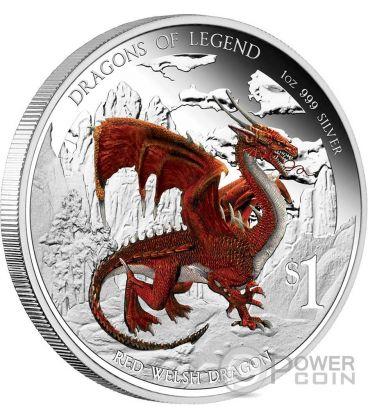 RED WELSH DRAGON Dragoni Leggendari Moneta Argento 1$ Tuvalu 2012