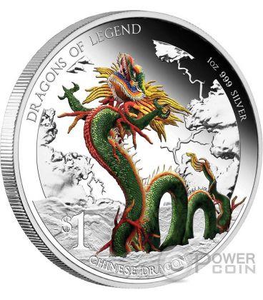 DRAGONE CINESE Chinese Dragoni Leggendari Moneta Argento 1$ Tuvalu 2012