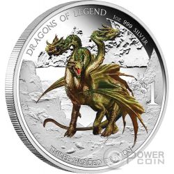 BULGARIAN THREE HEADED DRAGON Dragons Of Legend 1 Oz Moneda Plata 1$ Tuvalu 2012