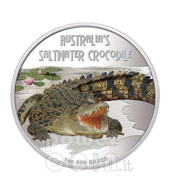 SALTWATER CROCODILE Deadly Dangerous Moneda Plata 1$ Tuvalu 2009