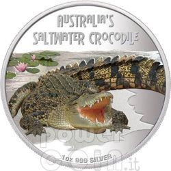 SALTWATER CROCODILE Deadly Dangerous Silber Münze 1$ Tuvalu 2009