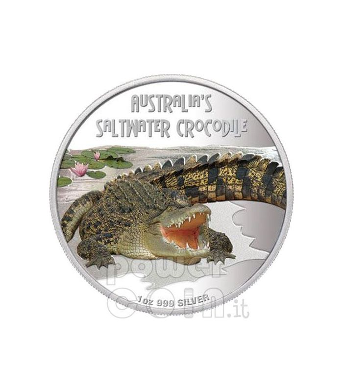 Saltwater Crocodile Deadly Dangerous Silver Coin 1 Tuvalu