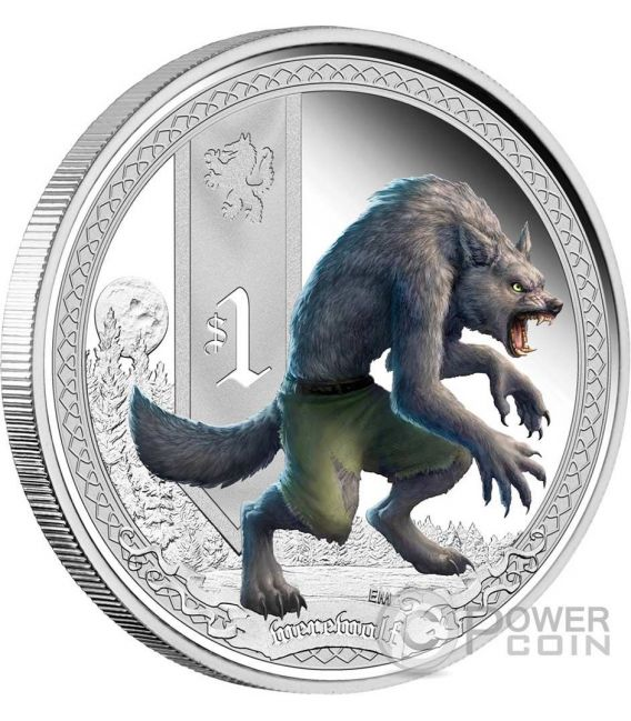 LUPO MANNARO Creature Mitologiche Mythical Creatures Werewolf Moneta Argento 1$ Tuvalu 2013