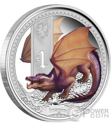 DRAGON Mythical Creatures Silver Proof Coin 1 Oz 1$ Tuvalu 2014
