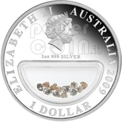 DIAMONDS Treasures Of Australia Silber Proof Locket Münze 1$ 2009