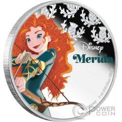 MERIDA Disney Princess Principessa 1 Oz Moneta Argento 2$ Niue 2016